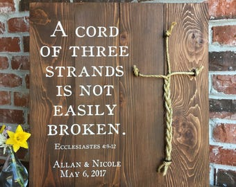A Cord of three strands, Ecclesiastes 4:9-12, MEDIUM STAIN, cross cords, Wood sign, Rope Detail, Wedding Decor, wedding cord, wedding braid,