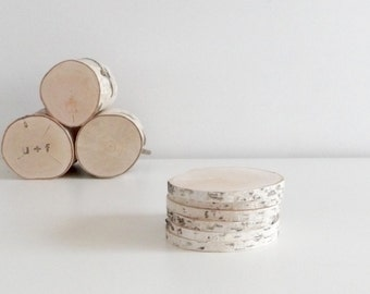 natural white birch wood slices for diy projects - set of 6, rustic wood slices, rustic wedding, wood craft, wood ornament