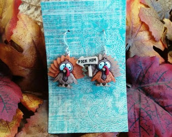 turkey earrings thanksgiving earrings fall earrings holiday earrings brockus creations
