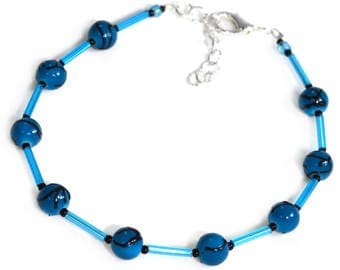 Blue Ankle Bracelet - Beaded - Ankle Bracelet - 8.75 to 10.5 Inches
