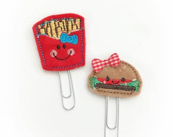 Cute burger and fries set planner clip / organizer clip /  Paperclip / Planner Bookmark - Paperclip Bookmark - Planner Clips
