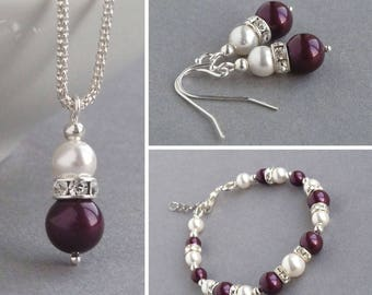 Plum Pearl Jewellery Set - Eggplant Pendant Necklace, Bracelet and Earrings - Plum Bridesmaids Jewellery - Bridal Party Gifts - Wedding