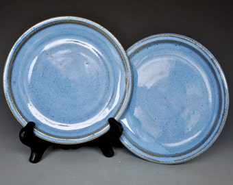 25% Off Seconds Pair of Blue Ceramic Plates AF