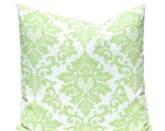 15% Off Sale Kiwi Green Pillows, Damask Pillow Covers, Decorative Throw Pillow Covers, Green Cushion Covers, Kiwi Green Accent Pillow, Polka