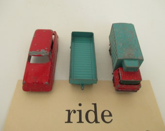 Vintage Metal Toy Car Truck Wagon - Tootsie Toy - Matchbox - Red, Teal Blue - Child's Room Decor - Three in Lot