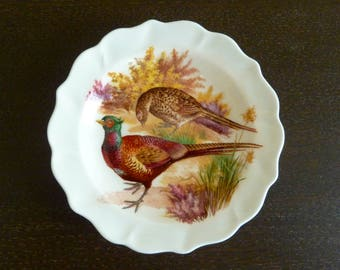Vintage Fine Bone China Sandford Decorative Pheasants Plate - Made in England - Collectible Home Decor - Great Condition