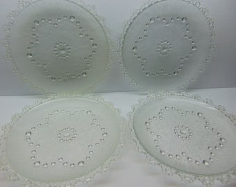 Vintage  Glass Plates, Japanese Aderia, Bubble Lace Edged Plates , Set of 4