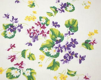 Violets and Alpine Flowers Wilendur Vintage Tablecloth Piece for Pillow or Projects - 17 by 15.5 Inches
