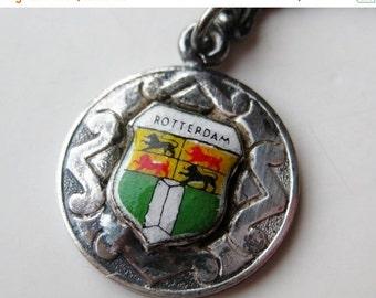HOLIDAY SALE Vintage 40s Rotterdam Netherlands Dutch Enamel Travel Shield 800 Silver Souvenir Keychain