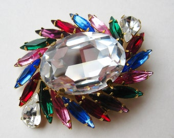 Vintage 50s 60s Sparkling Marquise Rhinestone Blue Pink Red Purple Green Jeweled Brooch Pin