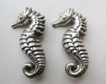 2 Vintage 40s Sterling Silver Art Deco Figural Seahorse Novelty Brooch Scatter Pins