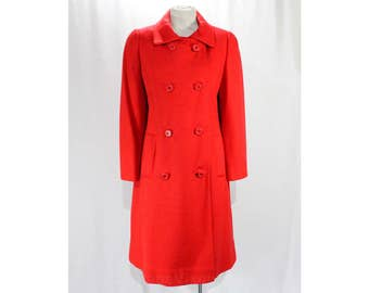 Size 14 Red Coat - Mod 1960s Double Breasted Coat - Classic Go Go Chic Wool Blend Knit with Pockets - 60s Overcoat - Bust 42 - 48552