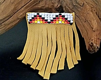 Hair Comb Beaded Leather