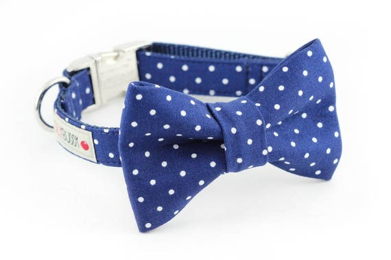 Navy Dot Bowtie Dog Collar