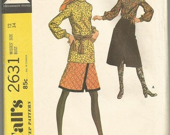 Vintage McCall's 2631  BoHo Skirt and Blouse Pattern SZ 12