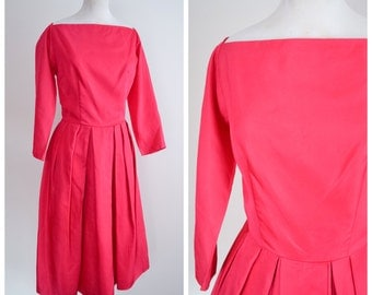 SALE 1950s 60s Fuschia pink satin party dress / 1960s 50s Wide square neck pleated skirt dress - M