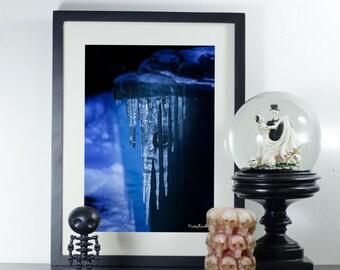 Horror Print -Ice, Dark Art, Dark Print, Weird Art, A4 , Creepy Print, Creepy Doll, Digital Art,Empty, Reflection, Ice cold, Winter