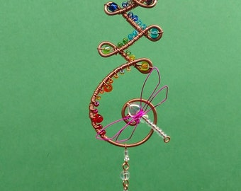 Gift for Her, Wire Wrapped and Beaded Rainbow Dragonfly mini Suncatcher