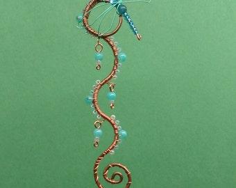 Wire Wrapped Dragonfly Waterfall Suncatcher Mini