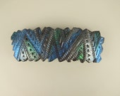 Metalic Steampunk Crazy Stripe Barrette, Large Freeform in Polymer Clay