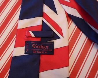 Vintage Union Jack Silk Tie / Brexit Tie / Vintage Mens Tie / Vintage UK Flag Novelty Men's Tie / Union Jack Men's Tie / Political Tie