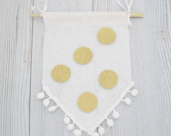 Felt flag , wall hanging , felt banner , gold flags