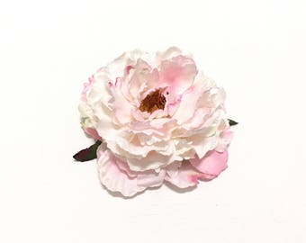 Jumbo PINK and CREAM White Peony - 6 Inches - Artificial Flower, Silk Flower, Millinery, Wedding, Flower Crown