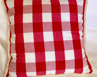 Country French Cottage Pillow Provence Check Red White Cream Plaid Bistro Paris