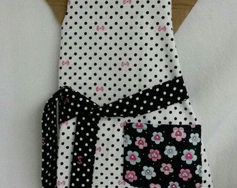 Childs Bib Apron Full Body Retro Contemporary Style Little Girls Apron or Gift Ready-Made