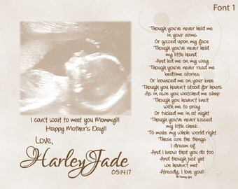 Mother's Day Gift for Expecting Mommy From Unborn Baby Personalized Poetry Print Though You've Never Held Me
