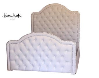 Upholstered Bed Extra Tall Headboard Footboard Rails Bed Frame King Queen Full Twin Velvet Choice of Fabric Crystal Button MADE TO ORDER