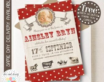 Farm Birthday Invitation, Farm Birthday, Farm Party, Farm Birthday Party, Farm Baby Shower, Boy Birthday, Girl Birthday, First Birthday