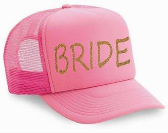 light pink and gold glitter bride cap - bride baseball cap - ladies bachelorette party caps - snap back - flat lid baseball summer hats