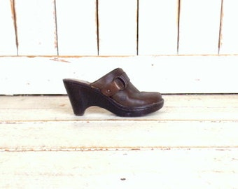 Dark brown leather Born clogs/leather wedge mule sandals/Born shoes/7/38