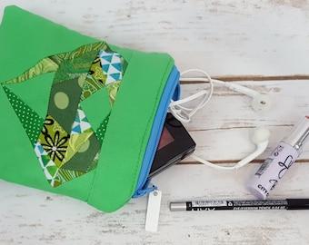 Diamond Paper-pieced zippered pouch - Greens