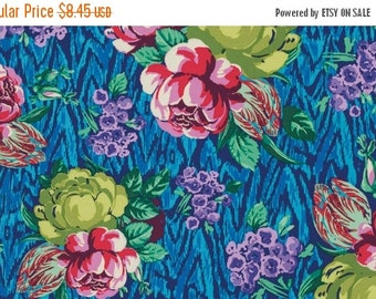 Christmas Sale Amy Butler Fabric - Tapestry Rose in Sapphire from the Hapi Collection