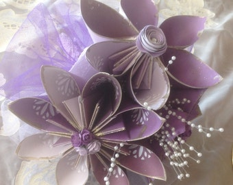 Paper Origami Flowers Shades of Purple Bouquet 3 large Fancy Flowers included