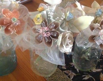 Pastel Paper Flower Mason Jar Arrangement for Receptions Tables
