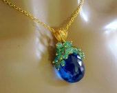 London Blue Topaz Columbian Emerald Cluster Gemstone Pendant Necklace Luxe Gift for Her