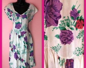 Vintage Adorable 1980s White Pink And Purple Floral Sun Tea Dress