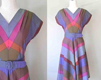 Vintage 80's dress PLUM PLAID sleeveless day dress - M/L