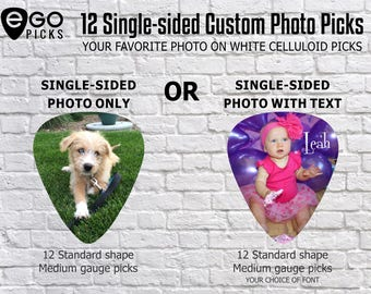 12 CUSTOM PHOTO PICKS  - Guitar picks with your favorite photo!