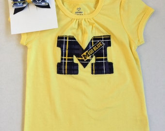 University of Michigan Block M Applique Top Girls 2 2T Ready to Ship