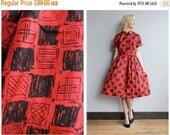 SALE 1950s Dress // Checkmate Nylon Dress // vintage 50s dress