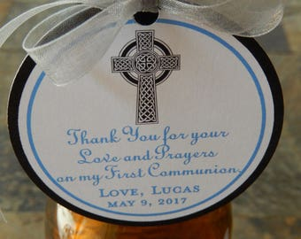 """3"""" Celtic Cross Custom First Communion or Baptism Favor Tags - For Wine Bottles - Favor Boxes - Party Favors - (40) 3"""" personalized tags"""