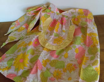 Floral Vintage Half Apron Pink & Yellow with Ruffle Pocket
