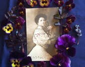 Edwardian Postcard Woman with Monkey - Glitter - Antique Photo