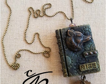Rise Polymer Clay Open Book Pendant and Necklace