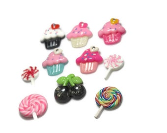 Grab Bag Sweets Embellishments - Candy Embelishments - Wholesale Embellishments - Cupcakes - Lollipos - Set of 10 - Fabric Flower Centers