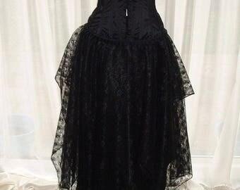 womens black skirt 14 16 18 20  maxi long goth gothic pixie asymmetrical lagenlook floor length burlesque gypsy wicca steampunk L XL XXL